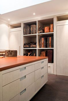 Masculine Feel Closet + LV Collection Displayed + Closet Built To Display & Store + Powell & Bonnell Design Master Closet, Closet Bedroom, Closet Space, Closet Storage, Purse Storage, Purse Organization, Organizing, Storage Room, Dressing Room Closet