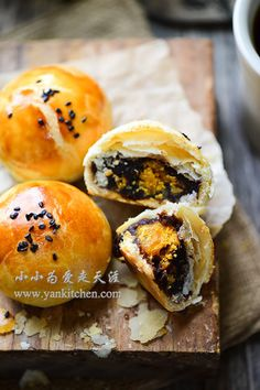 Flaky Asian Buns with Red Bean Paste and Salted Duck Egg Yolks — Yankitchen – Beans Spicy Recipes, Asian Recipes, Cooking Recipes, Asian Foods, Pastry Recipes, Asian Desserts, Sweet Desserts, Chinese Desserts, Asian Bread Recipe