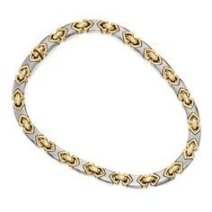 18 KARAT TWO-COLOR GOLD NECKLACE, BULGARI Designed as two-color gold links of geometric design, gross weight approximately 99 dwts, length 15¼ inches, signed Bulgari, numbered 4022. With signed envelope.