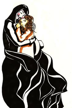 V and Evey done in watercolors and Indian ink