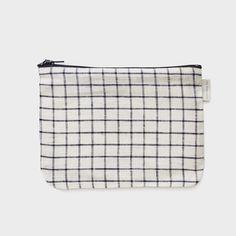Pochette à carreaux 100% lin Fermeture zippée 18x13,5 cm Fog Linen, Japon