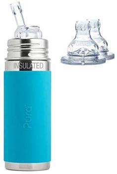 Lifefactory bouteille en verre classique avec Bouchon en silicone et Manche avec Straw Cap