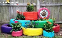 Creative DIY Garden Containers and Planters from Recycled Materials --> Turn Old Tires into Colorful Planters Tire Garden, Garden Planters, Hand Planters, Easy Garden, Old Tire Planters, Upcycled Garden, Garden Web, Garden Projects, Diy Projects