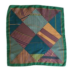 Lanvin 80s silk pocket square.   From a collection of rare vintage scarves at https://www.1stdibs.com/fashion/accessories/scarves/ @1stdibscom @Lanvin #vintage #style #fashion