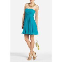 8dd8c0242f BcbgMaxAzria Duran Silk Bluejade Strapless Cocktail Dress w/ Skirt Drape Sz  12 #affilink Cute