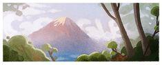 Google Yamanashi, Gifu, Toyama, Google Doodles, Holiday Logo, Monte Fuji, Mountainous Terrain, Two Trees, Japanese Characters