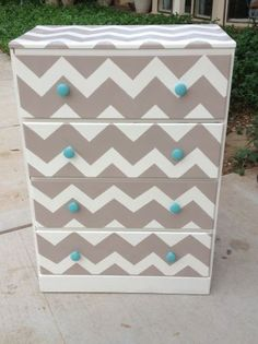Hand painted chevron.. would be pretty in coral with turquoise knobs.. need to…