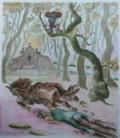 In a forest, at dusk, don Juan Manuel Montenegro is dragged and wounded by his runaway #horse. Third #illustration of the #Autumn Sonata of the great spanish writter #ValleInclan. 2016