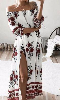 Boho Off Shoulder Floral Print Dress