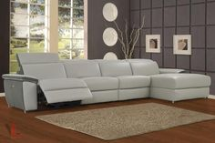 AURA LIGHT GREY POWER RECLINING LARGE SECTIONAL SOFA WITH RIGHT FACING CHAISE