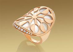 BVLGARI Intarsio pink-gold, mother-of-pearl and pavé-diamond ring Bulgari Jewelry, Luxury Jewelry, Gemstone Jewelry, Gold Jewelry, Jewlery, Pearl Jewelry, High Jewelry, Modern Jewelry, Jewelry Accessories
