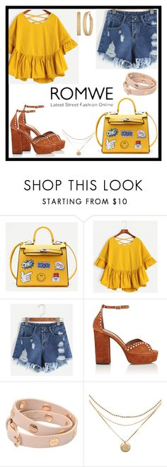 """""""Romwe 4"""" by amra-f ❤ liked on Polyvore featuring Tabitha Simmons, Tory Burch and GUESS"""