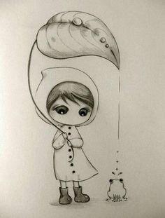 Blattschirm im Regen