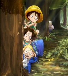 Sabo, Portgas D. Ace, Monkey D. Luffy and in background Monkey D. Garp - One Piece,Anime
