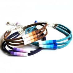 Ombre Perler Beads Triple Suede Cord from KnotSoFancy on Etsy