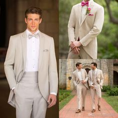 Black Tuxedos 2014 New Arrival Groom Tuxedos With Gun Collar High Quality Handsome Custom Made Beige #Best Man Wedding Groomsman Suit# Jacket+Pants+Tie Suits For Sale From Ourfreedom, $102.62| Dhgate.Com