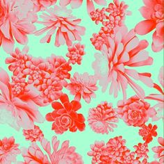 Succulent print in red and turquoise.