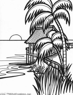 Island Printable Coloring Pages Free Printable Coloring Pages Beach Coloring Pages, Flower Coloring Pages, Coloring Book Pages, Printable Coloring Pages, Coloring Sheets, Art Drawings For Kids, Easy Drawings, Landscape Drawings, Line Art