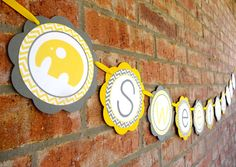 Elephant Baby Shower Decorations - Baby Shower Banner - Yellow and Gray on Etsy, $22.00