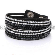 Cheap bracelet rubber, Buy Quality bracelet power directly from China bracelet lampwork Suppliers: New Arrival Fashion White and Black Crystal Pave Black Leather Bracelet 4 strands Crystal Wrap Bracelets