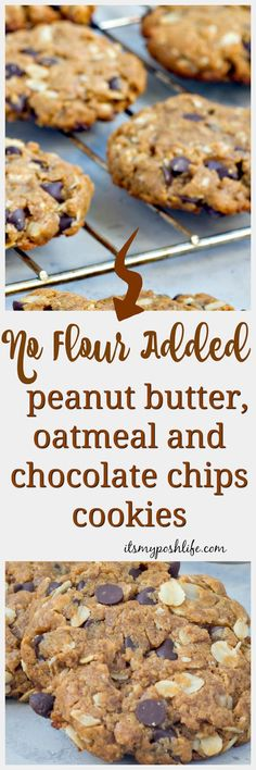 No Flour Added, Chocolate Chip Peanut butter and Oatmeal Cookies- great recipe to check out