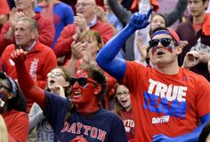 COLUMBUS, OH - MARCH 20:  Dayton Flyers fans cheer before the start of their game against the Providence Friars during the second round of the 2015 NCAA Men's Basketball Tournament at Nationwide Arena on March 20, 2015 in Columbus, Ohio.  (Photo by Jamie Sabau/Getty Images)
