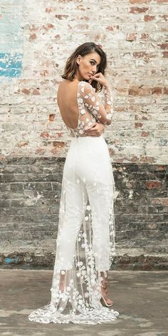 Save Money With These Great Wedding Tips rime arodaky wedding dresses trousers low back floral train with illusion long sleeves Stunning Wedding Dresses, Wedding Gowns, Wedding Tips, Wedding Ceremony, Bridal Outfits, Bridal Dresses, Wedding Pantsuit, Bridal Jumpsuit, Civil Wedding