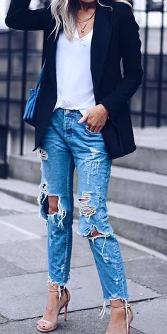 casual office outfit / blazer + top + ripped jeans + heels