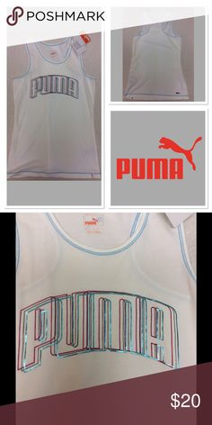 Size M  PUMA  Racerback Tank Top Brand new with tags. I thought I would wear it, but my fear of getting a white shirt dirty kept me from using this. My loss your gain. Edging stitching is blue, puma word is magenta, teal, and grey. Puma Tops Tank Tops