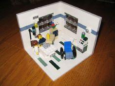 A hospital room in minifig scale Lego Hospital, Hospital Room, Interlocking Bricks, Lego Architecture, Lego Creations, Lego City, Getting Things Done, Legos, Atticus