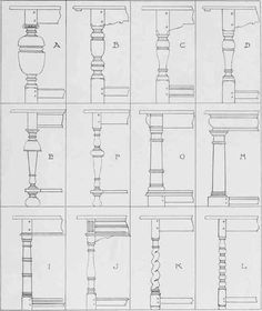"Types Of Turned Table Legs Of The Seventeenth Century. Excerpted from the book ""Early English Furniture & Woodwork"", by Herbert Cescinsky, Ernest. R. Gribble."