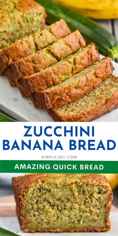 This Zucchini Banana Bread is such a simple, no rise, quick bread recipe that your family will love. Moist with a crisp exterior and the perfect balance of flavors. Brunch Recipes, Breakfast Recipes, Snack Recipes, Dinner Recipes, Snacks, Quick Bread Recipes, Great Recipes, Zucchini Banana Bread, Zuchinni Recipes