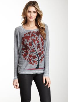Tree of Love Dolman Tunic Distressed Thermal on HauteLook