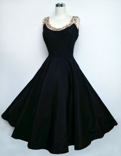 1950s Emma Domb Dress in Black Taffeta & Beaded Pink Satin