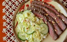 """This flank steak dinner can be prepared quick and easy in under 10 minutes! """"Asian Marinated Steak with Cucumber and Napa Cabbage Salad"""" (best steak dinner recipes) Steak Dinner Recipes, Beef Steak Recipes, Beef Flank Steak, Marinated Steak, Marinated Cucumbers, Steak Dishes, Food Dishes, Main Dishes, Napa Cabbage Salad"""