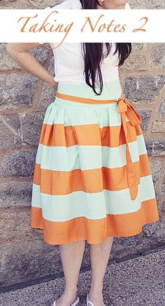 Darling skirt tutorial.  LOVE the stripes & the sash. via Sewing in No Mans Land