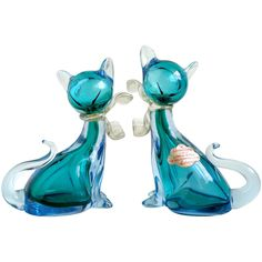 Alfredo Barbini Murano Sommerso Aqua Blue Italian Art Glass Kitty Cat Figurines | From a unique collection of antique and modern sculptures at https://www.1stdibs.com/furniture/decorative-objects/sculptures/