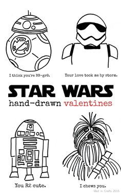 Mad in Crafts Hand-Drawn-Star-Wars-Valentines_thumb Star Wars Birthday, Star Wars Party, Valentine Day Crafts, Be My Valentine, Starwars Valentines, Valentine Ideas, Regalos Star Wars, Valentine Drawing, Star Wars Zeichnungen