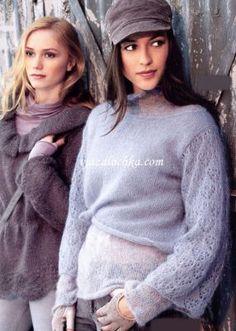 Двухслойный мохеровый пуловер
