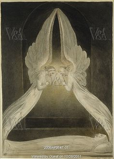 IDLE SPECULATIONS: October William Blake The Angels hovering over the body of Christ in the Sepulchre; Christ in the sepulchre, guarded by angels ca. 1805 (painted) Watercolour, pen and ink cm x cm The Victoria and Albert Museum, London William Blake, Art Romantique, Dante Gabriel Rossetti, Hr Giger, I Believe In Angels, Les Religions, Angels Among Us, Angels In Heaven, Heavenly Angels