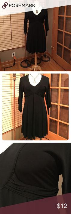Black dress Bisou Bisou black dress with V Neck Empire Belted Waist. 3/4 bell sleeves . Gorgeous! Bisou Bisou Dresses Midi