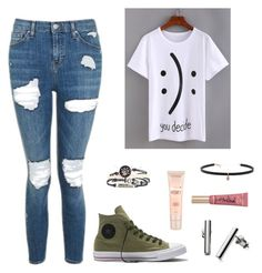 """""""Untitled #194"""" by kayla-2003 on Polyvore featuring Topshop, WithChic, Converse, Skagen, Too Faced Cosmetics, Maybelline and Carbon & Hyde"""