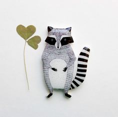 Free shipping Cute racoon Racoon brooch racoon jewelry, Christmas gift, Animal brooch clay racoon, Free shipping, gifts under 25, Black friday,