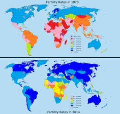 Fertility rates in 1970 vs fertility rates in 2014