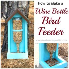 DIY Wine Bottle Bird Feeder - The neighborhood birds will all be flocking to your house to take a peek! Find full directions to build it here. Wine Craft, Wine Bottle Crafts, Bottle Art, Wine Bottles, Glass Bottles, Empty Bottles, Perfume Bottles, Diy Projects To Try, Wood Projects