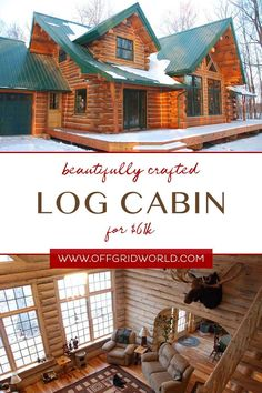 This beautiful log cabin has 2204 square feet of living space – plenty of room for a family to enjoy – plus a garage, 3 bedrooms, and a large living area to entertain or just sit back and relax. #cabin #logcabin #sustainablehomes Living Area, Living Spaces, Off Grid Cabin, A Frame Cabin, Sit Back And Relax, Off The Grid, Tiny Houses, Square Feet, Cabins