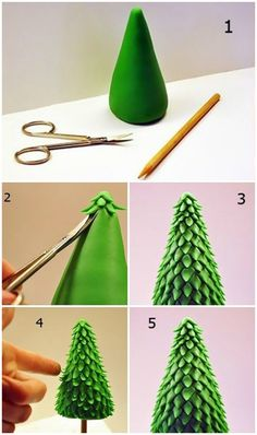 10 Interesting Christmas Tree Crafts For Your Kids: just love the look of this clay christmas tree.