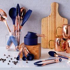 Add an extra dash of style and a pinch of pizzazz to your kitchen with utensils from Cook with Color. Their products come in a wide range of hues including classic neutrals like black and navy as well as trendy combos like mint and copper. Blue Kitchen Accessories, Kitchen Gadgets, Cooking, Color, Pots, Dishes, Style, Products, Kitchen