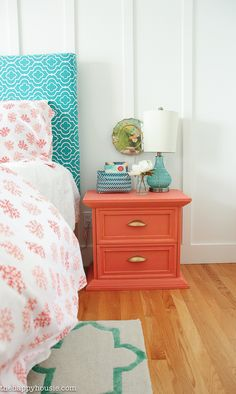 Lake House Summer Tour with beachy coastal colourful dining room master bedroom and deck at the happy housie-31