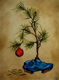 Charlie Brown Christmas Tree Painting | Charlie Brown Style Christmas Tree II - original oil painting